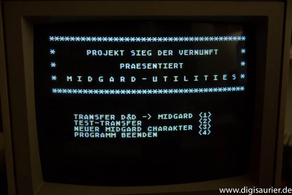 Menübildschirm eines Basic-Programms auf dem Atari 800XL