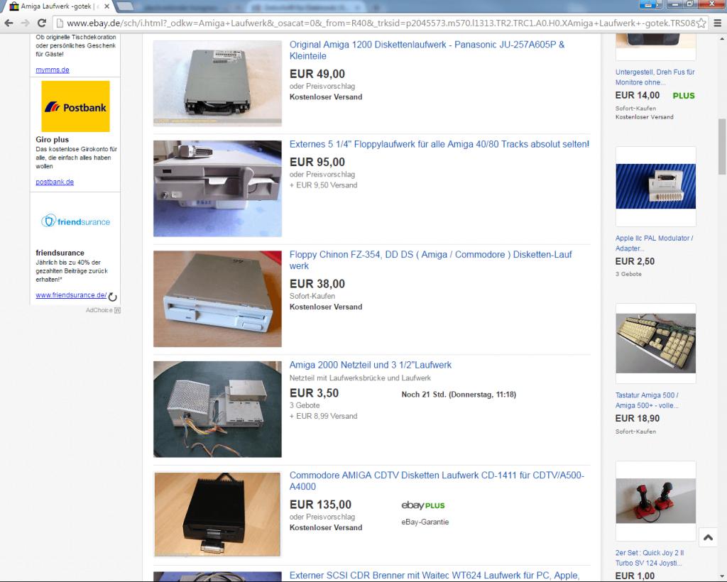 Screenshot auf eBay: Ein Querschnitt über die Preise eines Ersatz-Laufwerks für den Amiga. Deswegen muss es auch noch lange nicht in ein A500-Gehäuse passen.