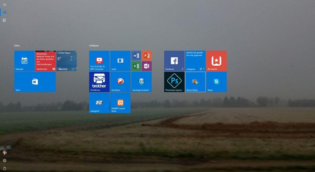 Die Kacheln auf dem Desktop - Notebook im Tablet-Modus
