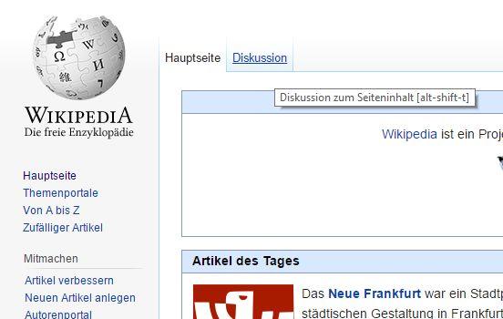 So sieht die Wikipedia aus, wenn man mal aus Versehen die Startseite aufruft...
