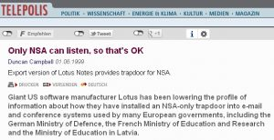 Ja, es gab (gib?) eine NSA-Hintertür in Lotus Notes...
