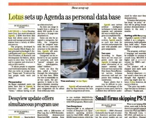 Möglicherweise der einzige Pressebeitrag über die Präsentation von Lotus Agenda auf der Comdex 1987