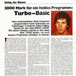 "Frank Ostrowski: Turbo-Basic als ""Listing des Monats"""