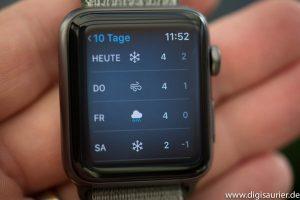 Wettervorhersage auf der Apple Watch.