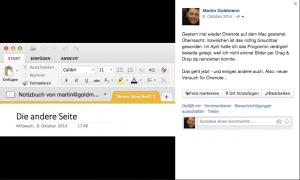Facebook-Posting zu Onenote