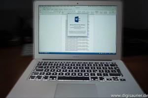 Word 2015 auf einem Macbook Air