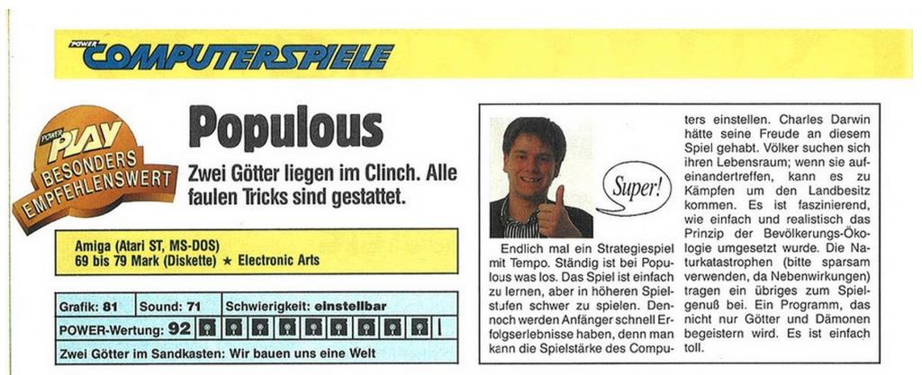 Populous fand Martin damals richtig Super!