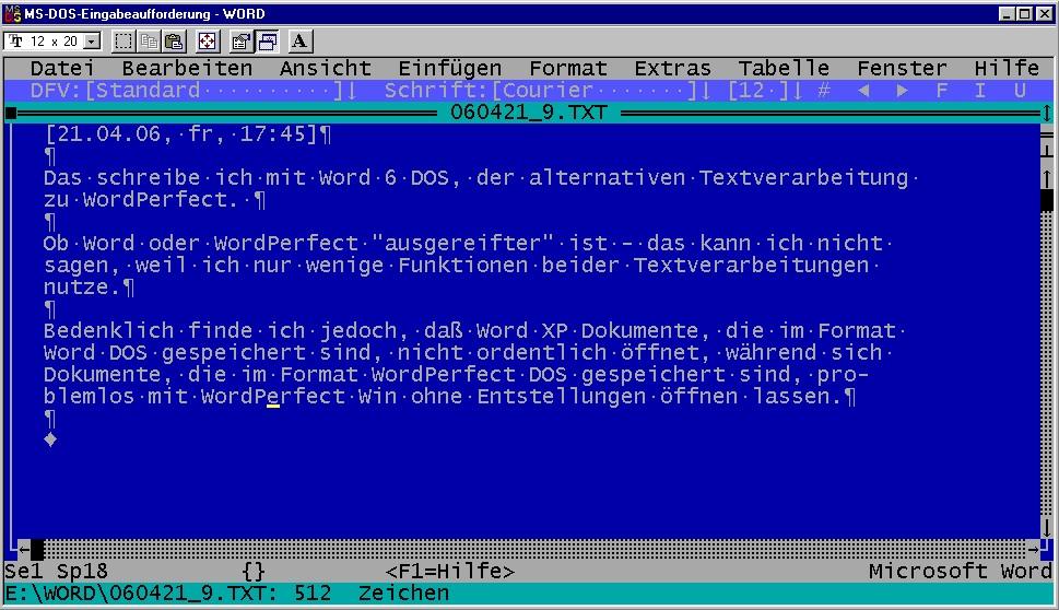 MS Word 6 - der Gigant der Textverarbeitung jener Jahre