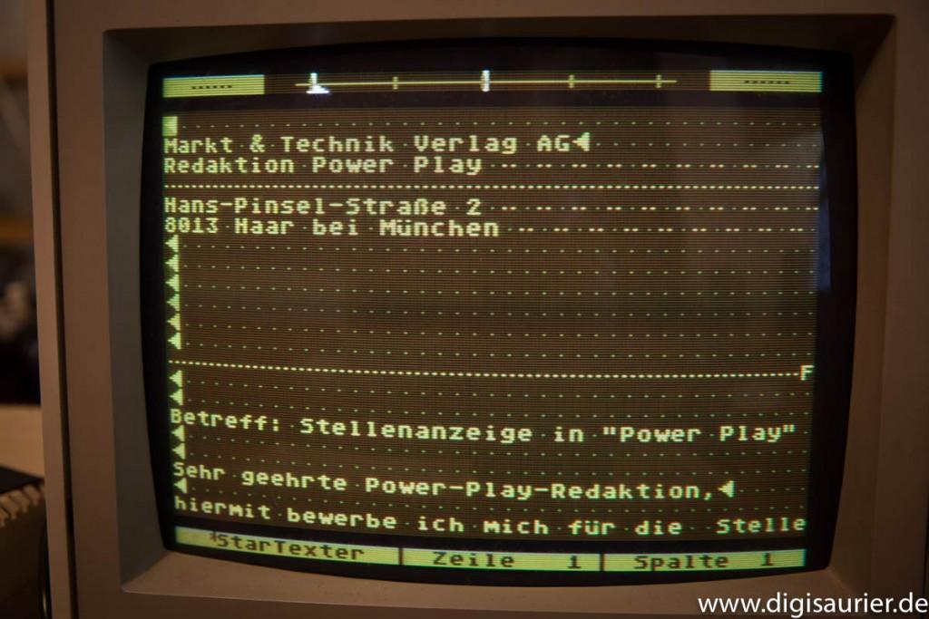 Flashback: Auf der Startexter-Diskette habe ich sogar meine alte Bewerbung bei der Power Play gefunden.
