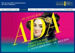 """Ausstellung """"Am Anfang war Ada"""" zu den wichtigsten Computerfrauen der Geschichte – im Heinz Nixdorf MuseumsForum in Paderborn, Screenshot der Webseite. (C) hnf.de"""