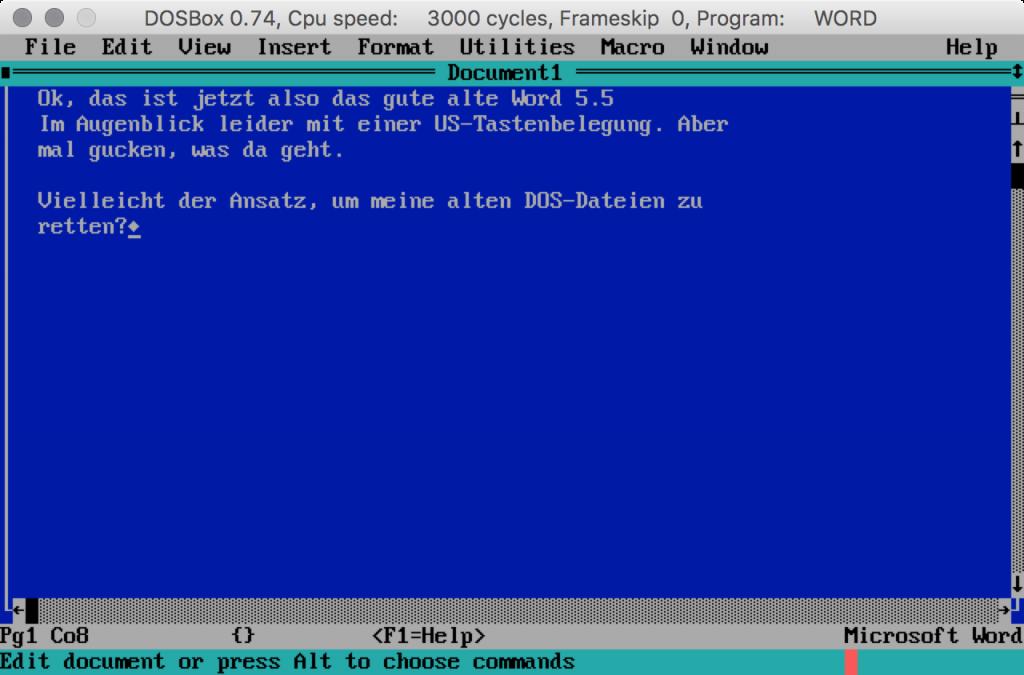 Word 5.5 in der DOSBox-Emulator auf dem Mac.