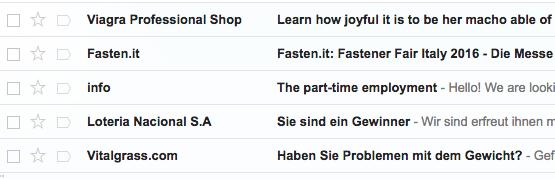 Google Mail filtert zum Glück große Mengen Spam zuverlässig heraus.