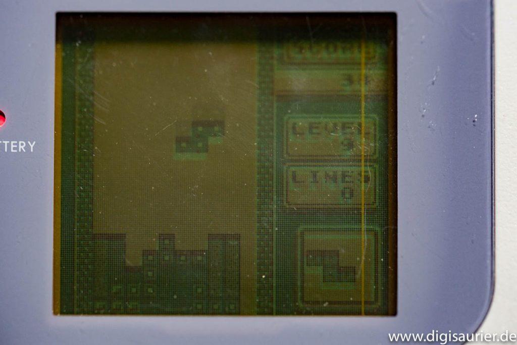 So sah Tetris damals aus. Der Bildschirm war kaum brillanter, aber das Spiel macht auch heute noch viel Spaß.