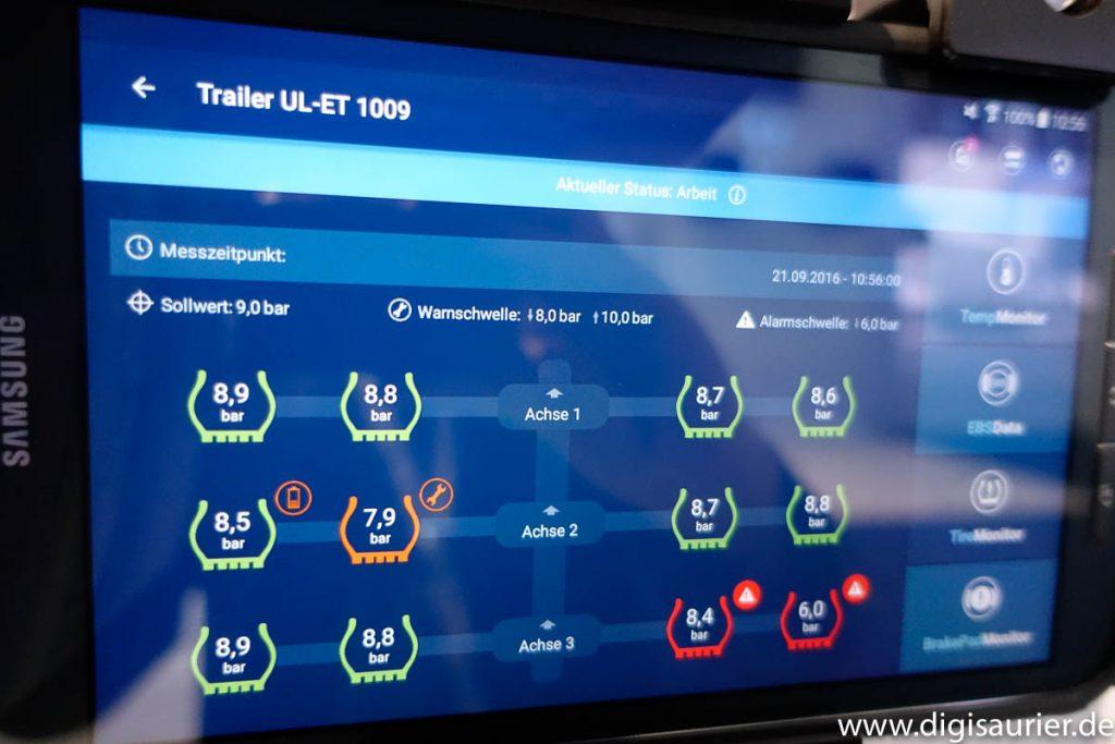 So geht das schon heute: Telematik-Daten des Lkw, zum Beispiel den Reifendruck, kann jeder Fahrer auf seinem Tablet anzeigen lassen.