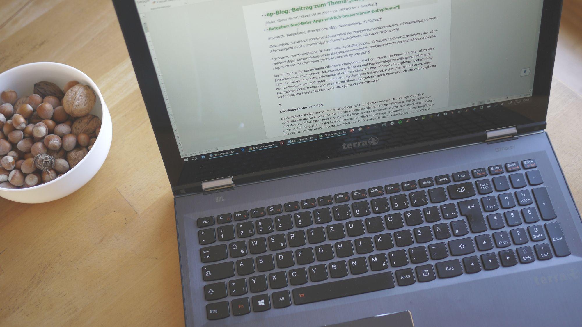 Das 2-in-1-Notebook als klassischer Laptop - hier mein Terra PC von Wortmann (eigenes Foto)