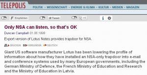 Ja, es gab (gib?) eine NSA-Hintertür in Lotus Notes...