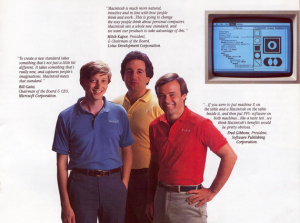 Auf einem Bild: Bill Gates und Mitch Kapor - kleine Promotion für Mac-Programme anno 1985