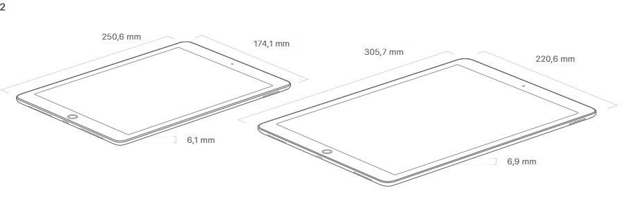 """Größenvergleich: Das iPad Pro mit 10,5"""" und 12,8"""" (Abb.: Apple)"""