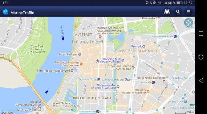 Liebling-App MarineTraffic: Der Rhein bei Düsseldorf