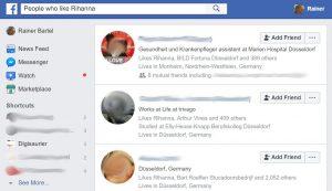 Suchen im Social Graph: people who like rihanna