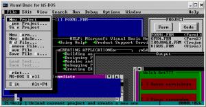 Die Entwicklungsumgebung von Visual Basic für MS-DOS