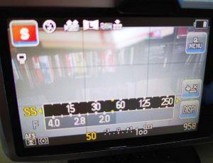 Anzeige der Belichtungswerte bei einer Lumix-Systemkamera