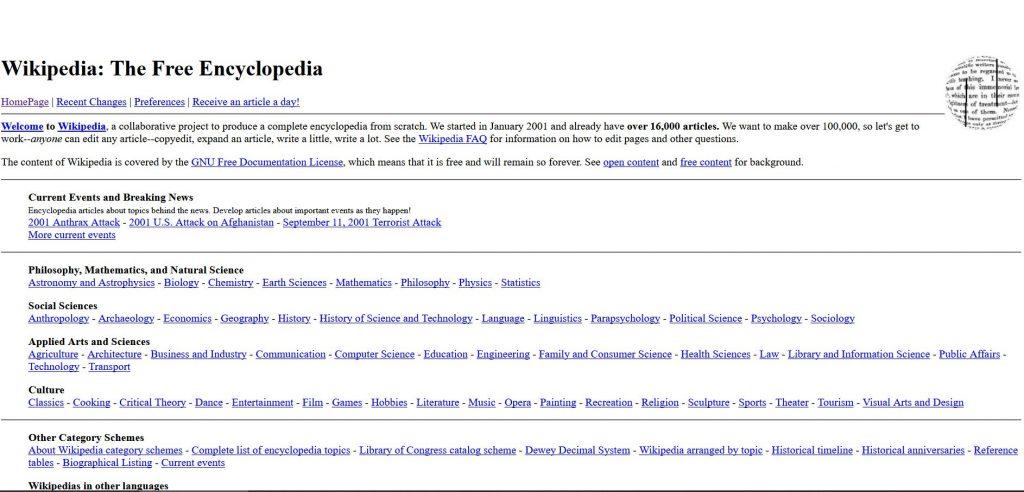 Die Wikipedia von 2001 - noch ohne Suchfunktion