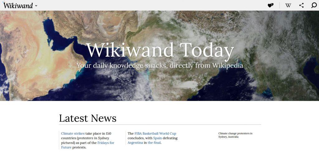 Zeitgemäßes Design - die Wikiwand-Startseite