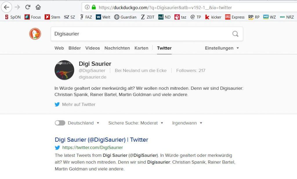 DuckDuckGo - der Favorit für anonymes Suchen (Screenshot)