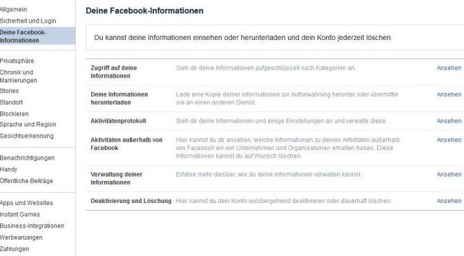 Aktivitäten außerhalb – Facebook und die Transparenz