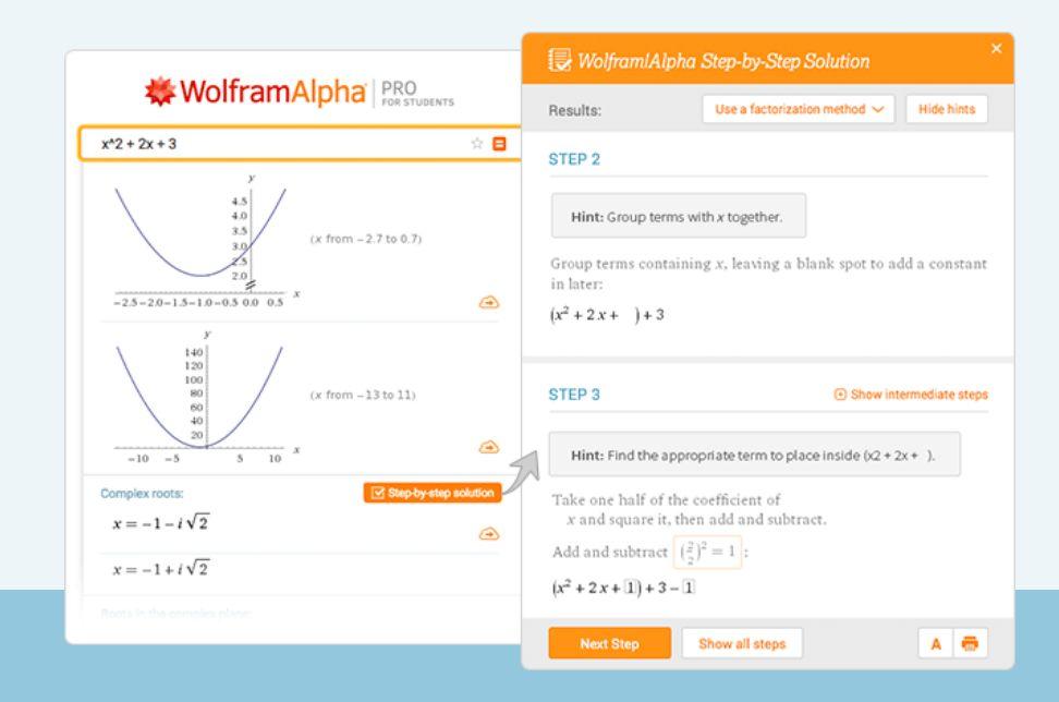 Die Pro-Version (hier für Studierende) bringt Schritt-für-Schritt-Lösungen