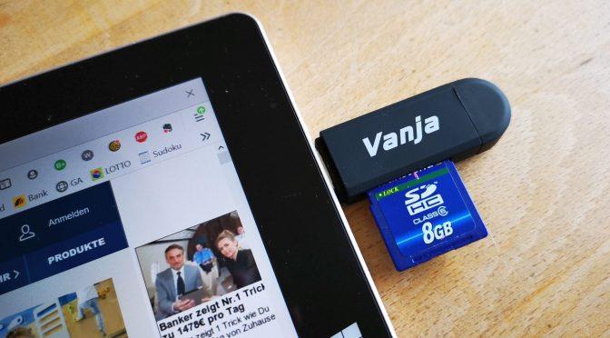 Das Vanja-Ding an einem Tablet ohne Kartenleser