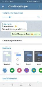 Hauptsächlich optische Einstellungsmöglichkeiten für Chats in Telegram