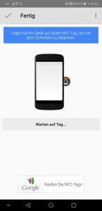Screenshot: Aufgabe mit Trigger auf den NFC-Chip schreiben