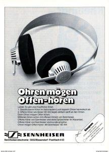 Sennheiser-Reklame für offene Kopfhörer (Quelle: unbekannt)