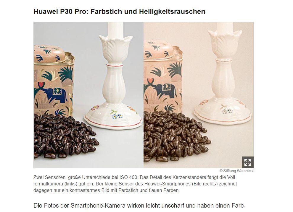 Perfekte Vergleiche zwischen Smartphone und Fotoapparat (Screenshot: www.test.de)