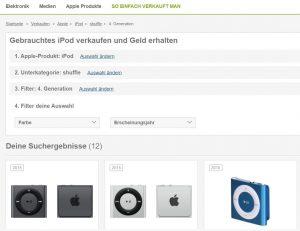 Ankauf zu Festpreisen - z.B. über rebuy (Screenshot)