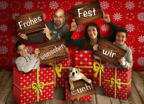 Werden immer beliebter: digitale Familienweihnachtskarten (Foto: Archiv Kosmo Frieda Englische Bulldogge)