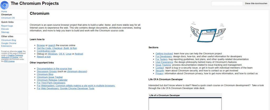 Interessant für Entwickler: die Chromium-Projekte (Screenshot)