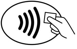 Mit diesem Symbol sind Kassenterminals gekennzeichnet, an denen mobil bezahlt werden kann.