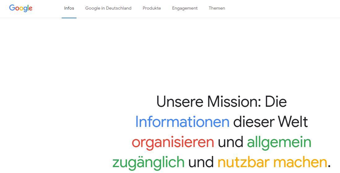 Auch Google strebt das Gute an (Screenshot: (Google.om)
