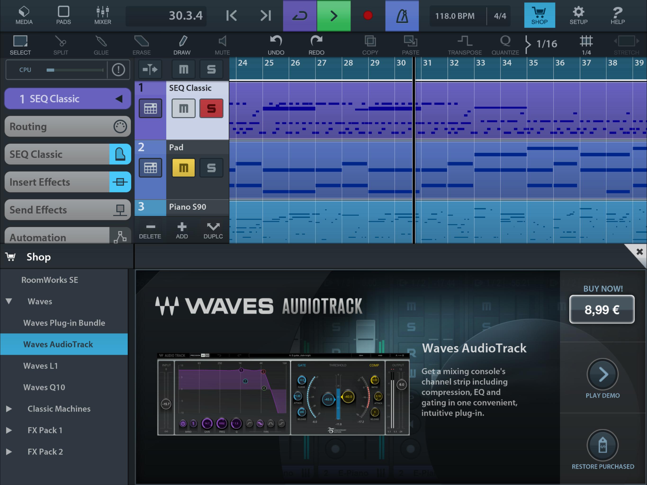 CuBasis 2.3 - das Maß aller App-Dinge in Sachen Musik (Screenshot: Steinberg)