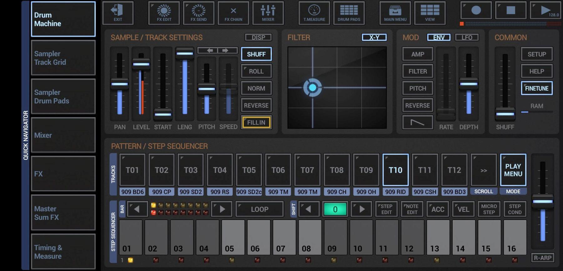 Eine feine Beat-Maschine mit aufgeräumter Benutzeroberfläche: G-Stomper (Screenshot DS)