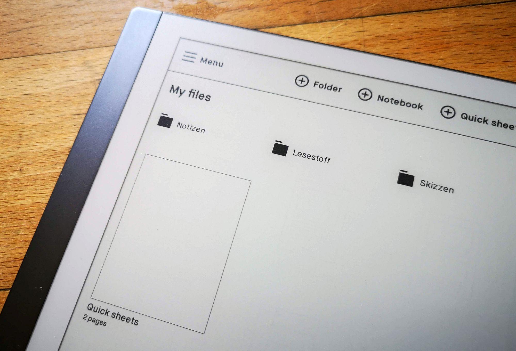 Das simple Dateiverwaltungssystem des reMarkable 2