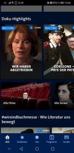 So präsentiert sich die App der ARD-Mediathek (Screenshot)