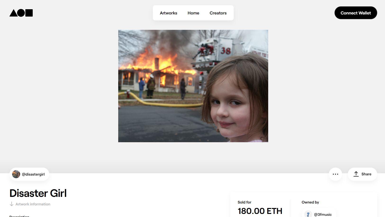 """Der Wert des """"Desaster Gilr"""" als NFT hat sich schon fast verdoppelt (Screenshot: foundation.app)"""