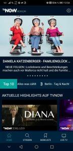 Die TVNOW-App ist mehr Streaming-Service als Mediathek (Screenshot)