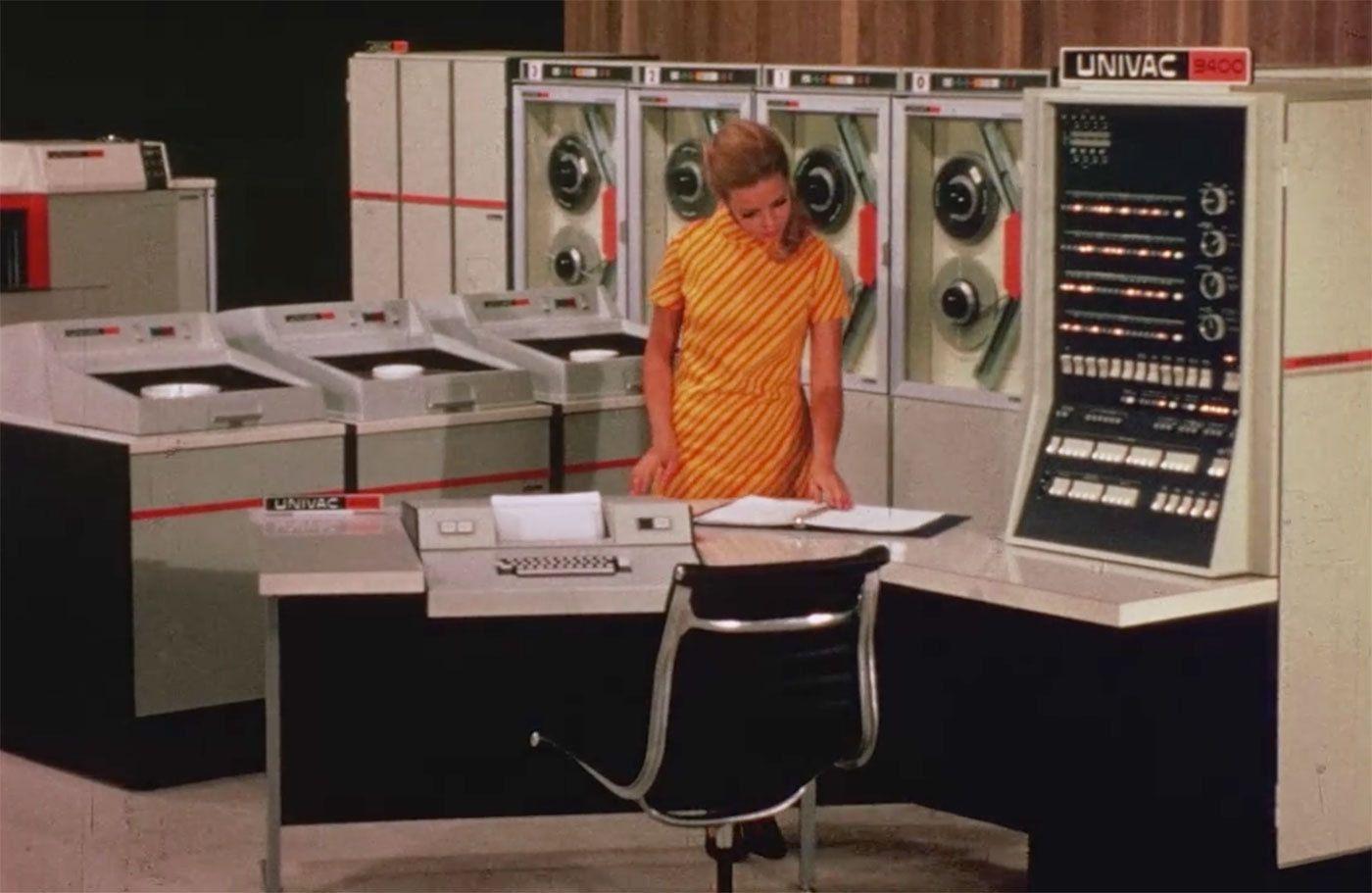 Ein Linotron-505-Arbeitsplatz im Jahr 1969