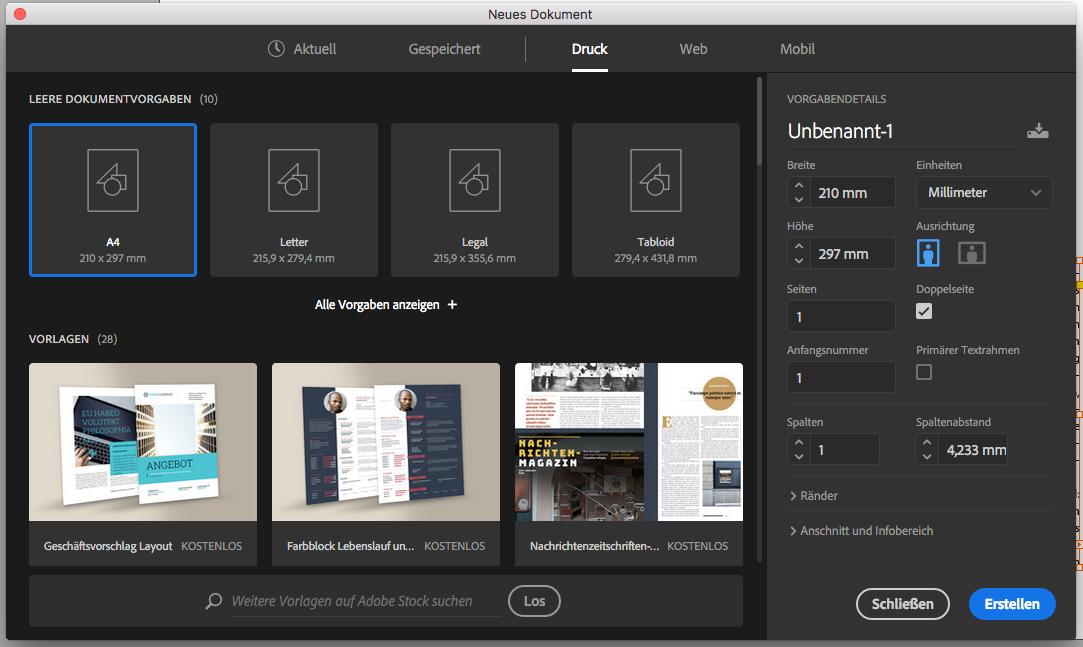 Adobe InDesign - der aktuelle Platzhirsch im DTP-Wald (Screenshot: Adobe)