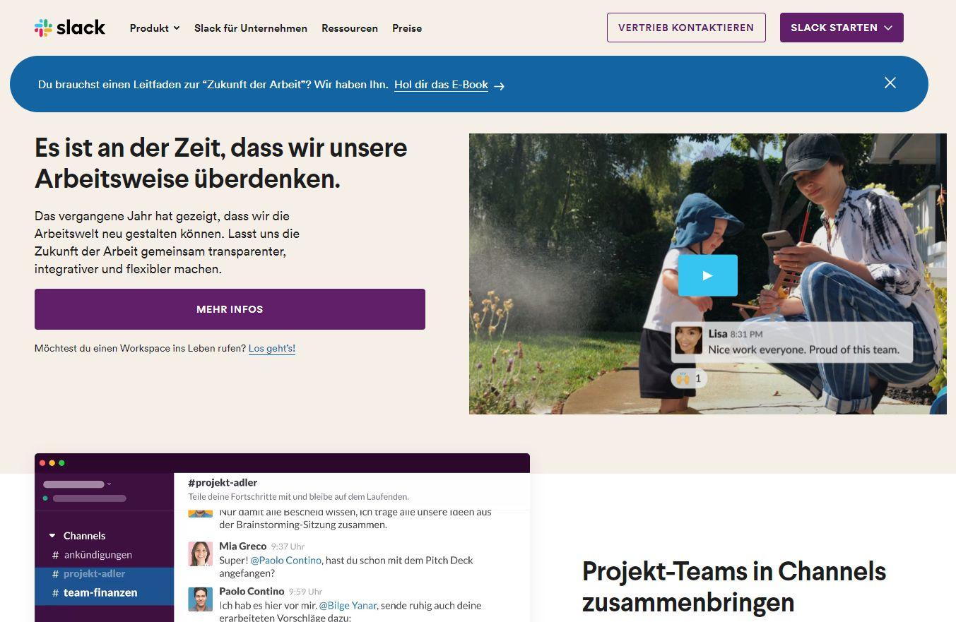 Die offizielle Slack-Website